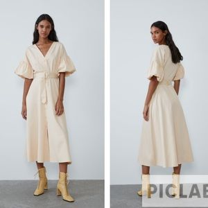 Zara cream belted voluminous dress